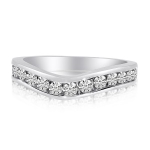 14K White Gold .75 Ct Diamond Curved Channel Band