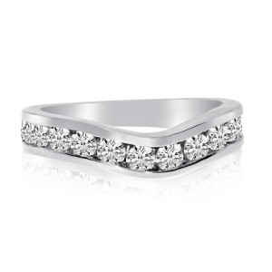 14K White Gold 1.05 Ct Diamond Curved Channel Band