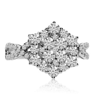 14k White Gold Star Clustaire Diamond Ring