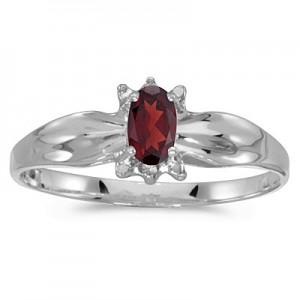 10k White Gold Oval Garnet And Diamond Ring