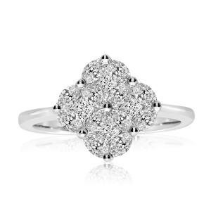 14k White Gold Clover Cluster Diamond Ring