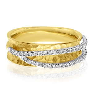 14K Two Tone Gold Crossover Diamond Textured Fashion Ring