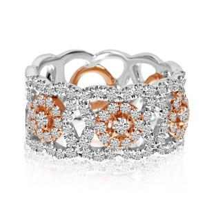14K White and Rose Gold Wide 1.09 Ct Diamond Band