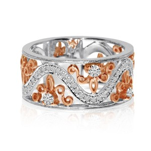 14K White and Rose Gold Wide .35 Ct Diamond Wave Band