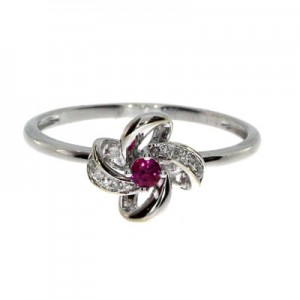 14K White Gold 2.5 mm Round Ruby and Single Cut Diamonds Precious Flower Ring