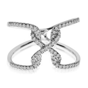 14K White Gold Free Flow .26 Ct Diamond X Fashion Ring