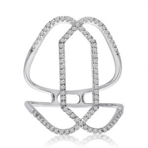 14K White Gold Diamond Negative Space Fashion Ring