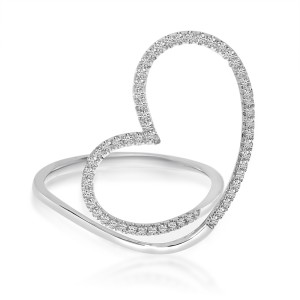 14K White Gold Open Heart Diamond Fashion Ring