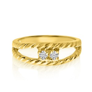 14K Yellow Gold Two Stone Diamond .12 Ct Braided Split Shank Ring
