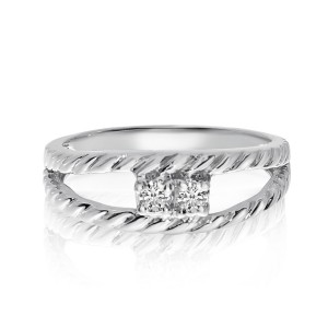 14K White Gold Two Stone Diamond .12 Ct Braided Ring