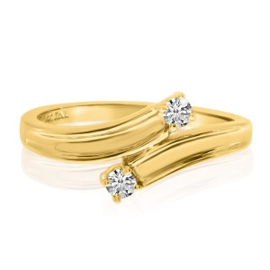 14K Yellow Gold Two Stone Diamond .12 Ct Bypass Ring
