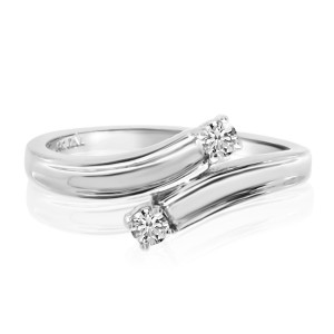 14K White Gold Two Stone Diamond .12 Ct Bypass Ring