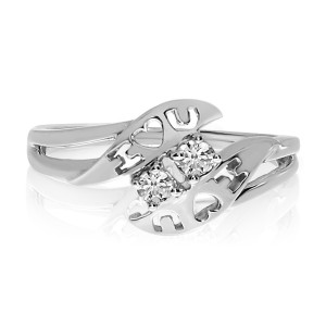 14K White Gold Two Stone Diamond .12 Ct I Love U Ring