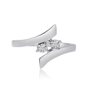 14K White Gold Two Stone Diamond .14 Ct Bypass Ring