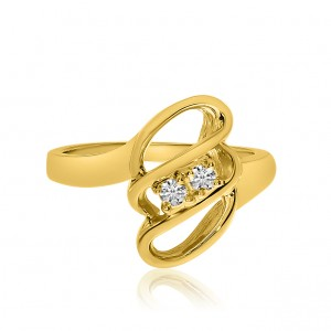 14K Yellow Gold Two Stone Diamond .12 Ct Three Row Swirl Ring