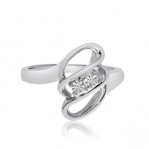 14K White Gold Two Stone Diamond .12 Ct 3 Row Swirl Ring