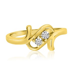 14K Yellow Gold Two Stone Diamond .12 Ct Twist Ring