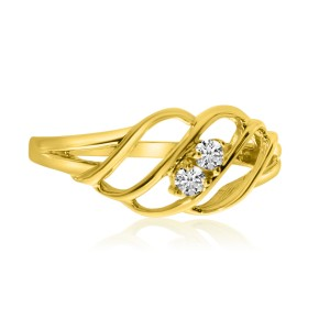 14K Yellow Gold Two Stone Diamond .12 Ct Woven Ring