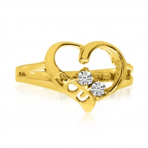 14K Yellow Gold Two Stone Diamond .12 Ct Heart Ring