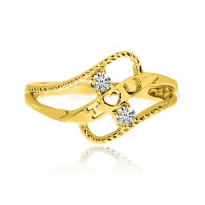 14K Yellow Gold Two Stone Diamond .12 Ct  Braided I Love U Heart Ring