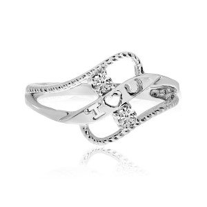 14K White Gold Two Stone Diamond .12 Ct Braided I love U Ring