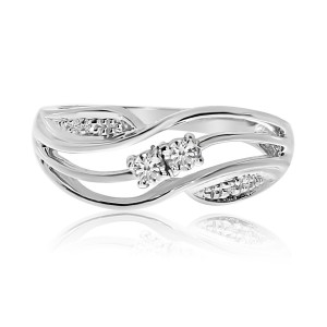 14K White Gold Two Stone Diamond .13 Ct Swirl Ring