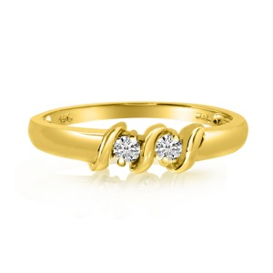 14K Yellow Gold Two Stone Diamond .12 Ct S Shape Ring