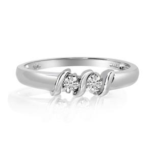14K White Gold Two Stone Diamond .12 Ct S Shapel Ring