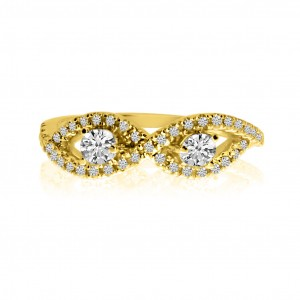 14K Yellow Gold Two Stone Diamond .36 Ct Bypass Ring