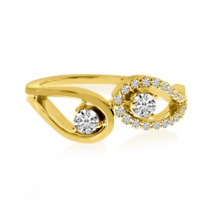 14K Yellow Gold Two Stone Diamond .34 Ct Open Ring