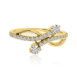 14K Yellow Gold Two Stone Diamond .48 Ct Offset Ring