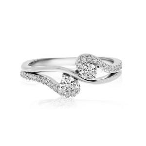14K White Gold Two Stone Diamond .33 Ct Open Swirl Ring