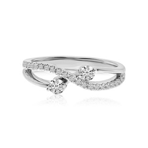 14K White Gold Two Stone Diamond .31 Ct Split Shank Ring