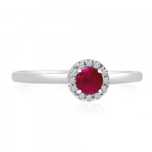 10K White Gold 4mm Round Ruby and Diamond Halo Precious Ring