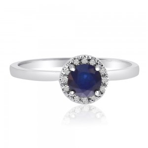 10K White Gold 5mm Round Sapphire and Diamond Halo Precious Ring