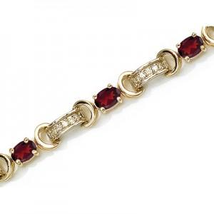 14K Yellow Gold Oval Garnet and Diamond Bracelet
