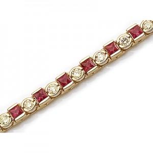 14K Yellow Gold Princess-Cut Ruby and Diamond Bracelet