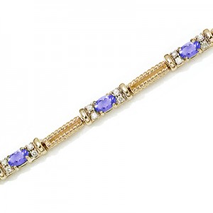 14K Yellow Gold Oval Tanzanite and Diamond Bracelet