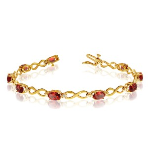 10K Yellow Gold Oval Garnet and Diamond Bracelet