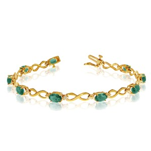 10K Yellow Gold Oval Emerald and Diamond Bracelet