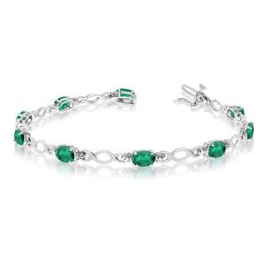 10K White Gold Oval Emerald and Diamond Bracelet