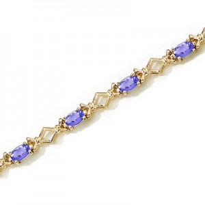 14K Yellow Gold Oval Tanzanite Bracelet