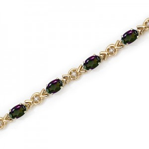 10K Yellow Gold Oval Mystic Topaz and Diamond Bracelet
