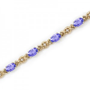 10K Yellow Gold Oval Tanzanite and Diamond Bracelet