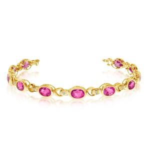 10K Yellow Gold Oval Pink Topaz and Diamond Bracelet
