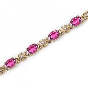 14K Yellow Gold Oval Pink Topaz and Diamond Bracelet