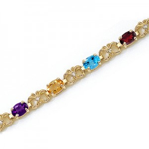 14K Yellow Gold Oval Multi and Diamond Bracelet
