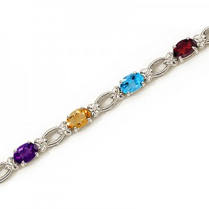 14K White Gold Oval Multi and Diamond Bracelet