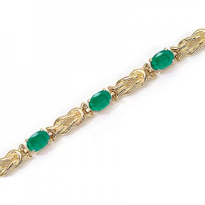 14K Yellow Gold Oval Emerald Bracelet