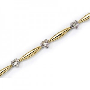 14K Yellow Gold Diamond Heart Bracelet